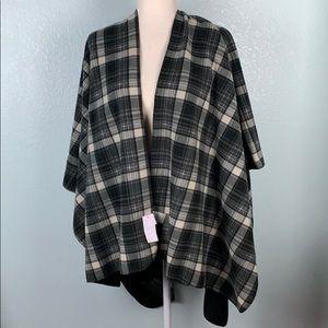 Fleece Blanket Shawl Reversible Plaid Black 19PE